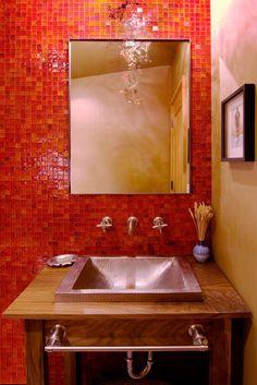 Powder Bathroom - contemporary - powder room - sacramento - by Ward-Young Architecture & Planning Orange Bathrooms, Bathroom Red, Bathroom Wall Decor, Bathroom Ideas, Mosaic Bathroom, Bathroom Pictures, Small Bathrooms, Bathroom Designs, Amazing Bathrooms