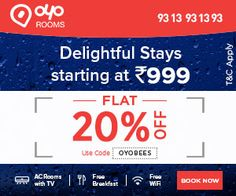 Get 20% Off On Hotel Bookings At OYO Rooms