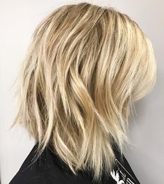 Blonde Lob with Disconnected Jagged Layers