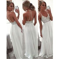 White prom dress, long prom dress, backless prom