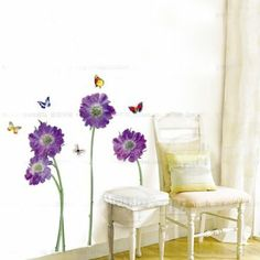 Amazon.com - Hunnt® Purple Flower Butterfly Removable Quote Vinyl Room Wall Decals Stickers - Childrens Wall Decor