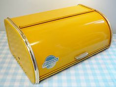 Retro vintage sixties broodtrommel donkergeel Rossignol 60's jaren 60 oud
