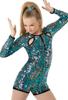 Multicolor swirling sequins sparkle on this matte nylon/spandex biketard with sequin mesh long sleeves. Raglan cutouts create interest along the front shoulder, and nylon/spandex binding wraps the leglines. Zipper at center front neckline. Pop Star Costumes, Cute Dance Costumes, Ballet Costumes, Royal Ballet, Dark Fantasy Art, Body Painting, Pullover Shirt, Kids Dance Wear, Latin Dance Dresses