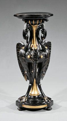 Belle Epoque Ebonized and Gilt Decorated Pedestal : Lot 845 Home Board, Aesthetic Movement, Victorian Furniture, K2, Belle Epoque, Cutlery, Pedestal, Wood Art, Vases