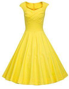 Dresstells, Vintage 1950's Audrey Hepburn robe de soirée cocktail, bal style années 50, Rockabilly, Swing, Jaune XL