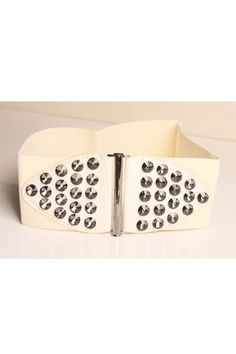 This waist belt crafted in PU and rhinestone, featuring rhinestone embellished to front with hook fastening, an elastic main.$22