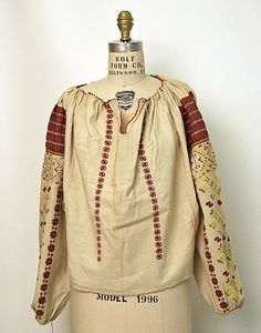 Blouse Date: 20th century Culture: Romanian Medium: cotton, silk