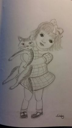 Little girl with cat in graphite