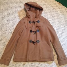 Brown Pea Coat Excellent condition! The hood is removable!! Jackets & Coats Pea Coats