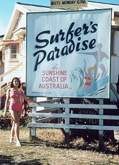 "Surfer's Paradise - Back in the day! note the wording ""The Sunshine Coast of Australia"" now known as ""The Gold Coast"" and the coastal region to the North  of Brisbane is ""The Sunshine Coast""."