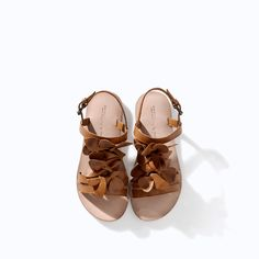 LEATHER SANDAL WITH FLOWER from Zara Girls