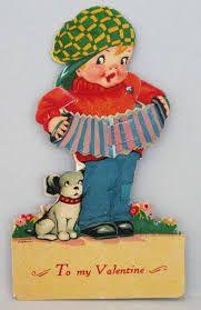 Image result for dog with accordion vintage Valentine card