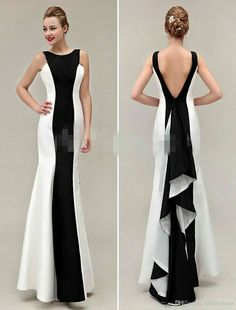 Cheap Evening Dresses White And Black Sheath Slim Lon Gprom Backless Sexy Jewel Neck Sleeveless Custom Dresses Evening Wear Formal Evening Dress Gowns For Women,s Cheap Evening Dresses, Elegant Dresses, Pretty Dresses, Evening Gowns, Formal Dresses, Formal Wear, 20s Dresses, Taffeta Dress, Black Prom Dresses