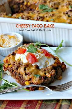 This amazing entree has a Bisquick and cilantro crust, a beef, corn and salsa layer then topped with cheddar cheese. Easy and delicious. Hamburger Dishes, Beef Dishes, Potluck Dishes, Baked Tacos Recipe, My Favorite Food, Favorite Recipes, Bisquick Recipes, Pillsbury Recipes, B Recipe