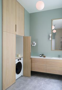 Laundry Hacks, Laundry In Bathroom, Bathroom Inspiration, Bathroom Interior, Mirror, Architecture, House, Furniture, Corridor
