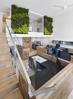 Extraordinary Office Design in Stylish Modern Looks: Lovely Home Office Decor Idea In Buck ONeill Builders With Indoor Vertical Gardening An. Commercial Office Space, Commercial Design, Commercial Interiors, Creative Office, Cool Office Space, Office Spaces, Corporate Interiors, Office Interiors, Project Portfolio