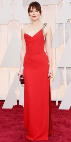 87th Annual Academy Awards - Arrivals Dakota Johnson in Saint Laurent with ForeverMark jewelry.