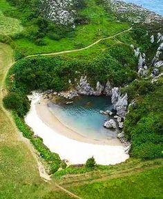 Gulpiyuri Beach, Asturias, Spain.