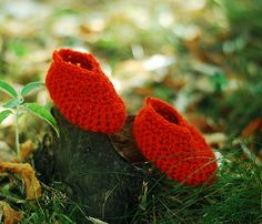 Baby Crochet Shoes Wool Foot Warmers Autumn Fall Winter Cold Days Kids Cozy Ginger Red Orange