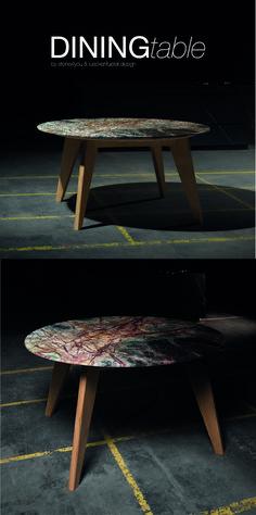 Ein Marmoresstisch mit dem faszinierenden grünen Stein mit rötlichen Adern (Rainforest). Jeder Tisch ein Unikat! Der Tisch hat einen Durchmesser von 140cm und wird mit einem Fußgestell aus massiver Eiche ausgeliefert. Bei Interesse gerne melden. Steinmetz, Table, Design, Furniture, Home Decor, Natural Stones, Oak Tree, Timber Wood, Decoration Home
