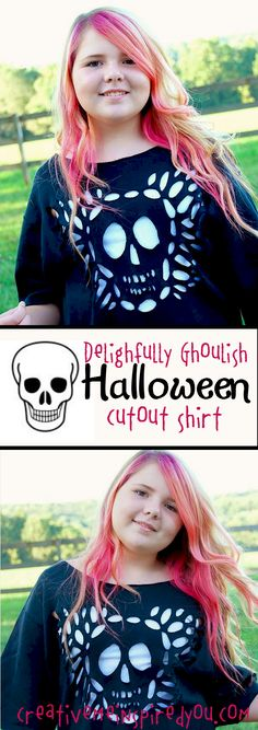 http://creativemeinspiredyou.com/awesome-cut-out-image-shirt/ This is an awesome looking shirt, I cannot wait to do this at Halloween!