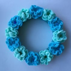 Wall Door Art Decor Crochet Wreath Kids Children Room Blue Green Mint Flower Room Party Decor