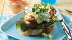 Chicken Burgers with Basil Yogurt Sauce. These juicy, open-faced burgers are smothered with a sweet and tangy basil yogurt sauce and topped with cheese, avocado and all the fixings – we promise, they'll be your new favorite burgers!