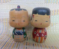 Japanese Asian Oriental Wood Kokeshi Dolls Lovely Lamps