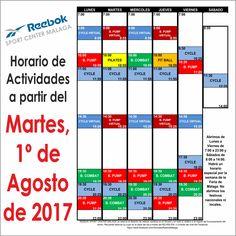 Horario de actividades colectivas a partir del Martes 1/Agosto/2017, excepto la Semana de Feria de Málaga en la que tendremos un horario especial. Descárgate el horario en tamaño folio desde http://reebokmalaga.com/horarios