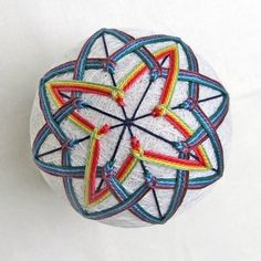 Japanese Temari Ball Ornament Thread Ball Rainbow Star Wrapped in a Take-Out Box