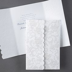 Symphony of Lace Design Wedding Invitations A symphony of lace has taken over this sophisticated gatefold invitation.