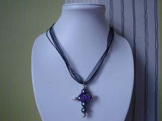 Grey Purple and Black Cross by traceysjewellery on Etsy, Handmade Jewellery, Purple And Black, Washer Necklace, Grey, Jewelry, Fashion, Gray, Moda, Handmade Jewelry