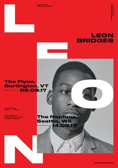 Leon Bridges: Poster(Concept Only – Photography by Kinfolk Magazine) Graphic Design Posters, Modern Graphic Design, Graphic Design Typography, Graphic Design Illustration, Graphic Design Inspiration, Editorial Layout, Editorial Design, Layout Design, Print Design