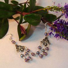 Freshwater Pearl Swarovski Crystal Chandelier Earrings On Sterling