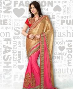 Picture of Appealing Golden And Pink Party Wear Sarees