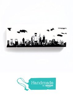 Philadelphia Skyline Canvas Wall Art (Black and White, 12 x 4 inches) Philly Cityscape Home Decor from Ink the Print http://www.amazon.com/dp/B015HPYPIA/ref=hnd_sw_r_pi_dp_bH.6wb0AW9PRC #handmadeatamazon