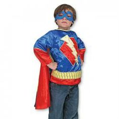 """With this """"super"""" disguise, your hero is ready to take on every adventure, from Saving the World to Snack Time. Ships FREE to CT, MA & RI! Add the cape (with a drama. Cool Halloween Costumes, Halloween Dress, Kids Role Play, Pretend Play, Drama, Melissa & Doug, Dress Up Costumes, Super Hero Costumes, Superhero Party"""