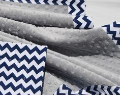 Navy and White Chevron with Light Silver Gray Minky- Minky Baby Blanket -Baby Size - Baby Boy Blanket