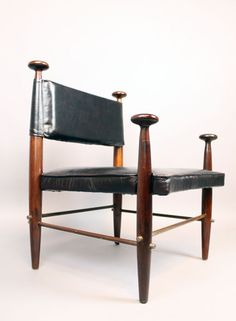 Tony Paul; Walnut, Leather and Steel Chair, c1960.