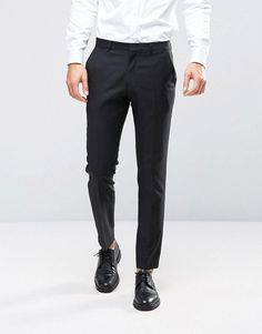 ASOS Slim Suit Pant in Black 100% Wool - Black