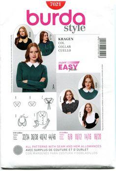 BURDA STYLE 7021 Collar Bib and Dickie Sewing Pattern by DesignRewindFashions