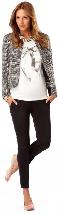 Bow tee, audrey jacket, and skinny black pants.