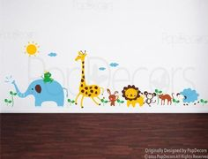 PopDecors - Cute Animals in the Jungle-(175' W) Custom Beautiful Tree Wall Decals for Kids Rooms Teen Girls Boys Wallpaper Murals Sticker Wall Stickers Nursery Decor Nursery Decals >>> For more information, visit image link. (This is an affiliate link) #HomeDecoration
