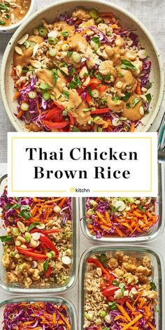 You Have Meals Poisoning More Normally Than You're Thinking That Recipe: Spicy Thai Chicken And Brown Rice Bowls Kitchn Spicy Recipes, Lunch Recipes, Asian Recipes, Cooking Recipes, Healthy Recipes, Thai Chicken Recipes, Cooking Games, Thai Peanut Chicken, Chipotle Chicken