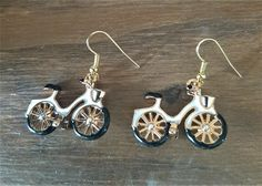 White/gold bicycle metal earrings - bicycle earrings - bicycle jewelry - cyclist gift - mini bicycle charms - gold with white bicycle charms