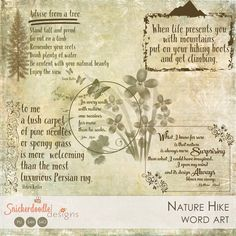 Nature Hike Word Art by #SnickerdoodleDesigns Included:  5 PNG word art graphics for non-Photoshop users; PNG format; 300 dpi  2 ABR files; 1 for CS5 and under users, and 1 in larger format for CS6 and Creative Cloud users.