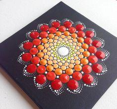 Original Red Mandala Painting 15x15cm on by CreateAndCherish