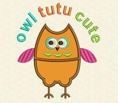 Funny Owl Tutu Cute Applique Embroidery Design