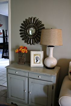 Cabinet End Table  clarendon lane: Living Room Fall Decor