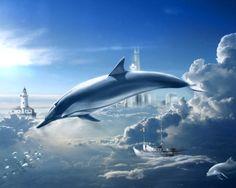 바닷가와 구름을 넘나드는 큰 돌고래